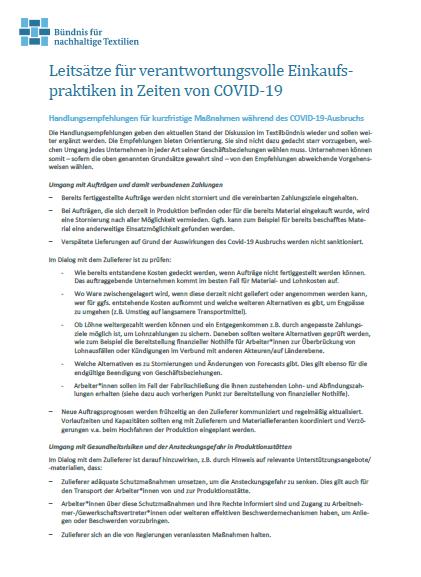 Screenshot Leitsätze für verantwortungsvolle Einkaufspraktiken in Zeiten von COVID-19