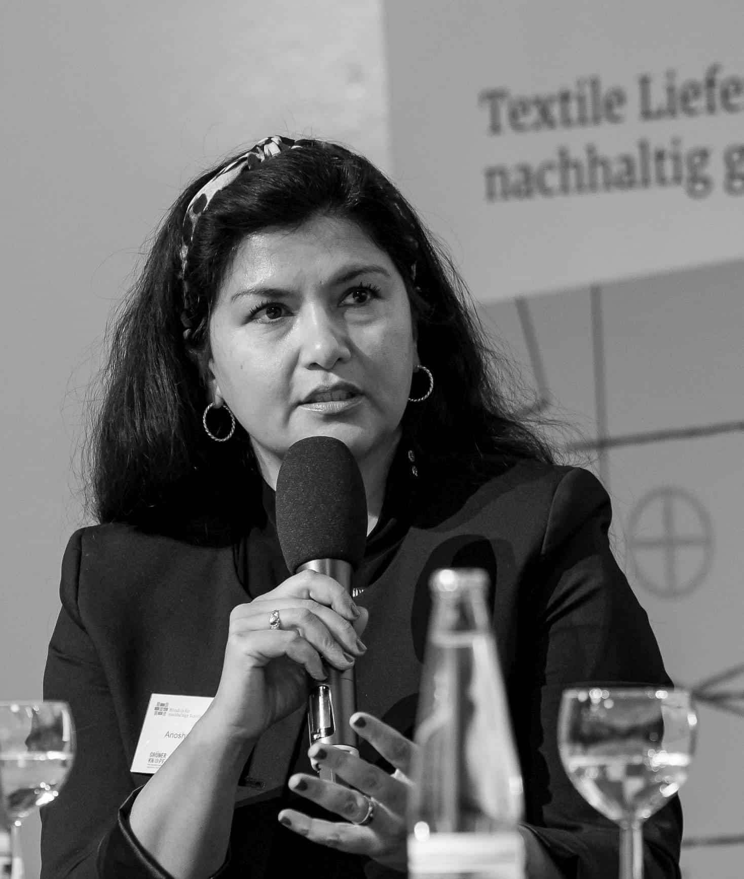 Anosha Wahidi, BMZ, bei der Mitgliederversammlung des Textilbündnisses 2019