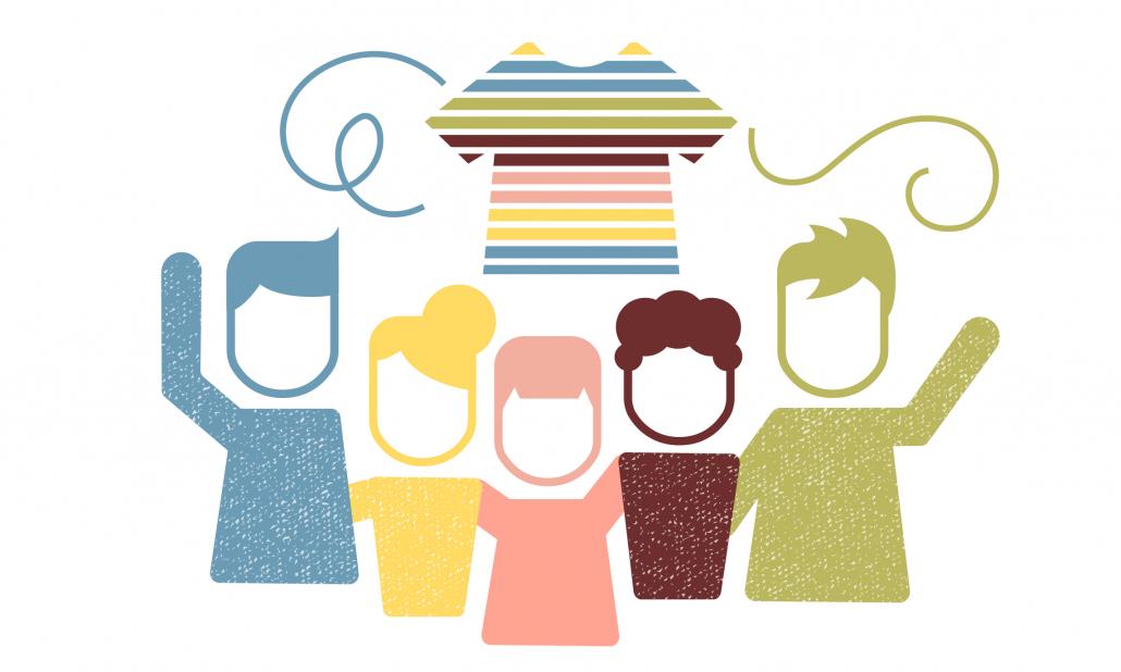 Grafik Bündnisinitiativen, man sieht 5 Menschen und ein T-Shirt