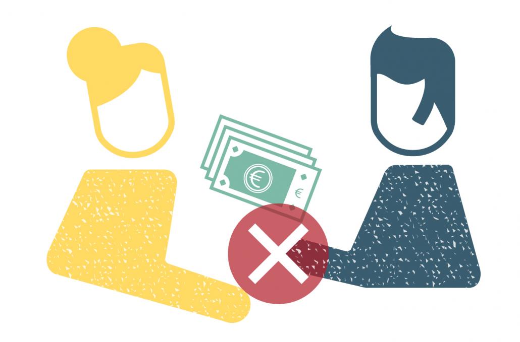 Grafik Korruptionsprävention, zu sehen ist eine Person, die einer anderen Person Geld gibt und ein Stop-Symbol