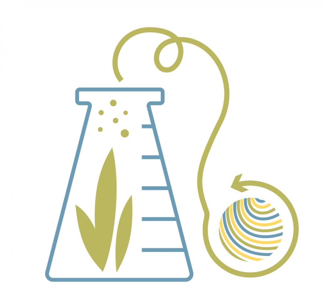Grafik zu Chemiefasern, zu sehen ist ein Reagenzglas und Garn