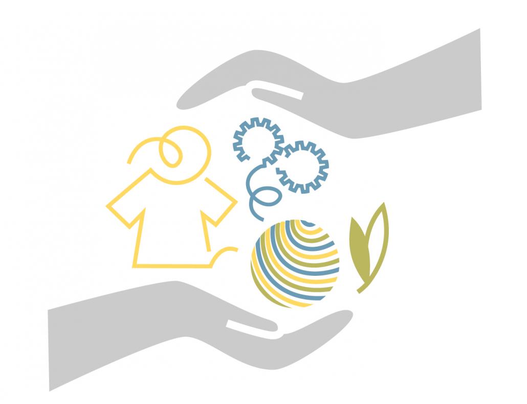 Grafik zu unternehmerischen Sorgfaltspflichten, man sieht zwei Hände, die Fasern, Maschinen und Mensch vereinen