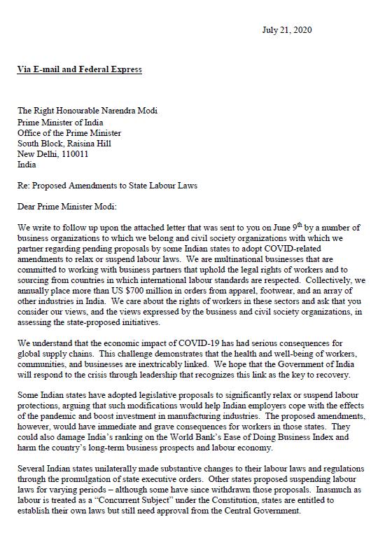 Bild des Briefes an die indische Regierung
