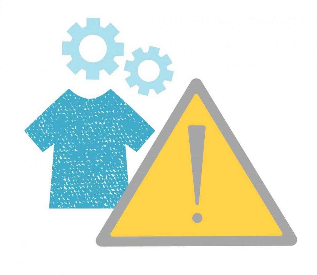 Grafik zu Sektorrisiken: ein T-Shirt, Zahnräder und ein Warnschild