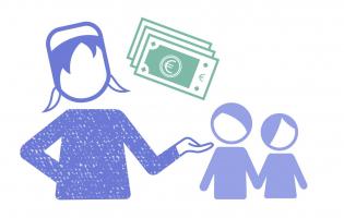 Grafik Existenzsichernde Löhne, man sieht eine Person, die zwei anderen Personen Geld gibt